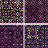 neon pink green ornate seamless tile patterns on black backgrounds vector