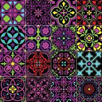 neon bright ornate seamless tile patterns vector