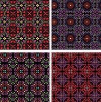 neon bright ornate seamless tile patterns on black backgrounds vector