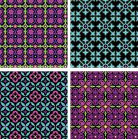 neon blue pink purple ornate seamless tile patterns on black backgrounds vector