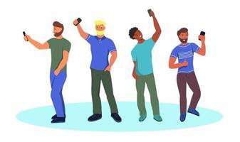 young men taking selfies vector