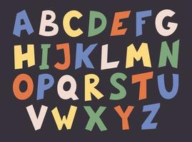 Hand-drawn cute English alphabet. vector