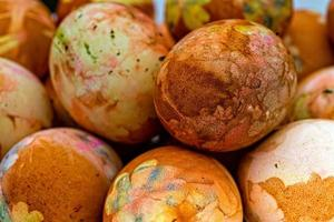 Close-up of colored Easter eggs photo