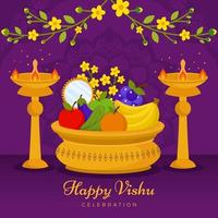 Happy Vishu Celebration with Fruits and Candle vector