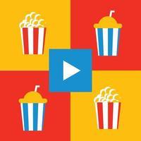 popcorn, drink, and movie flat illustration vector