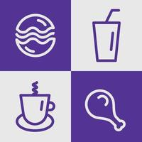 vector of fast food. illustration of burger, coffea, drink