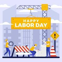 Flat Happy Labor Day Background vector