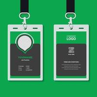 professional corporate id card template, clean green id card design with geometric shape composition realistic mockup vector