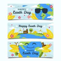 Happy Earth Day Banner Set vector