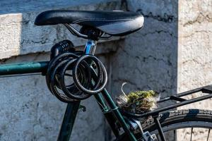 A bird nest, collected from the forest sits on a bike carrier photo