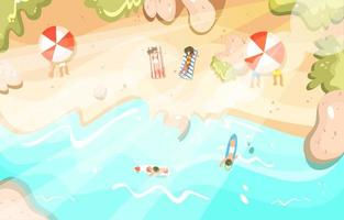 Summer Vacation People Relaxing on the Beach vector