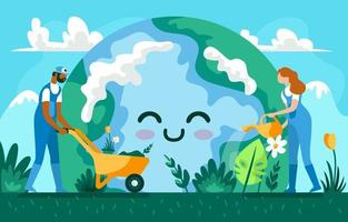 People Caring for the Environment on Earth Day vector