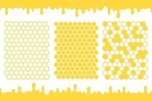 Yellow hexagonal honeycomb grid vector with honey dripping on the ground