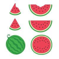 A delicious red watermelon set vector