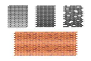 Brick wall pattern set vector