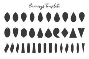 Earring pendant template set vector
