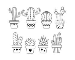 Potted cactus set vector