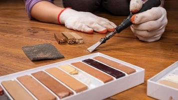 pintura de madera rayada foto