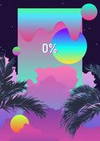 Exotic palm tree and phychedelic liquid cloud background vector