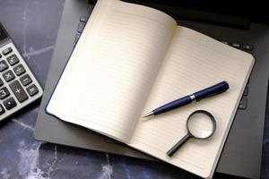 Notebook paper on the table, business idea concept