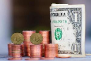 Bitcoin cryptocurrency coin and business money concept photo