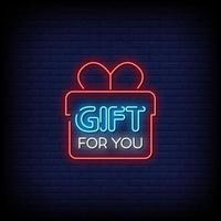 regalo para ti letreros de neón estilo vector de texto