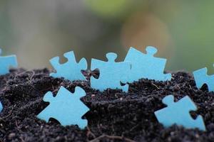 Close-up jigsaw puzzle photo