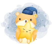 Cute doodle hamster floating and hugging little star cartoon character Premium Vector