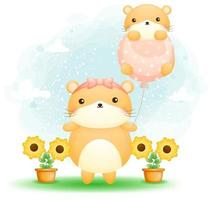 Cute hamster holding balloon with baby hamster on it vector