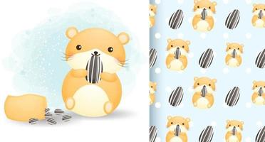 Cute hamster with sunflower seed and seamless pattern cartoon character Premium Vector