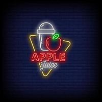 Apple Juice Neon Signs Style Text vector