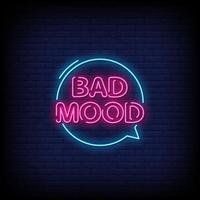 Bad Mood Neon Signs Style Text Vector