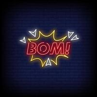 Bom Neon Signs Style Text Vector