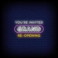 Grand Re opening Neon Signs Style Text Vector