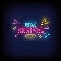 New Arrival Shop Now Neon Signs Style Text Vector
