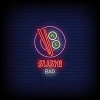 vector de texto de estilo de letreros de neón de barra de sushi