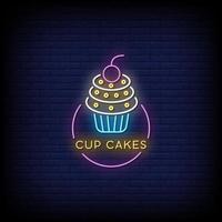 cup cakes letreros de neón estilo texto vector