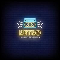 Retro Music Festival Neon Signs Style Text Vector