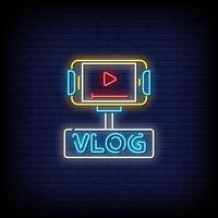 vector de texto de estilo de letreros de neón vlog