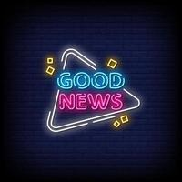 buenas noticias letreros de neón estilo vector de texto
