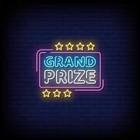 gran premio letreros de neón estilo texto vector