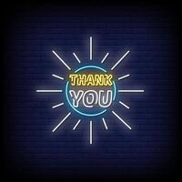 Thank You Neon Signs Style Text Vector