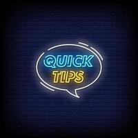 Quick Tips Neon Signs Style Text Vector