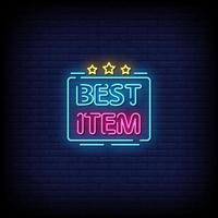 Best Item Neon Signs Style Text Vector