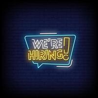 We are Hiring Neon Signs Style Text Vector