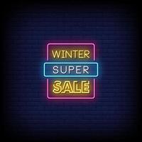 vector de texto de estilo de letreros de neón de super venta de invierno