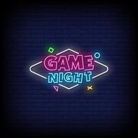 Game Night Neon Signs Style Text Vector