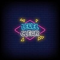 Level Clear Neon Signs Style Text Vector