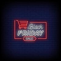 Black Friday Sale Neon Signs Style Text Vector