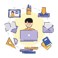 Online School Icon Set vector